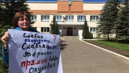 В Окуловке местная жительница вышла на одиночный пикет с требованием вернуть прямые выборы главы района